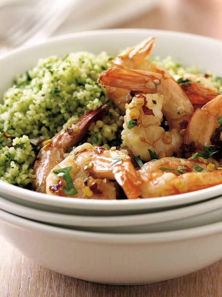 Shrimp Scampi over Pesto Couscous recipe from Sandra Lee via Food Network