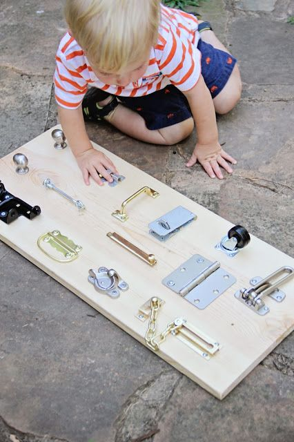 DIY Lock Hinge Latch Board...for hours of playing......I may have to make one this week!