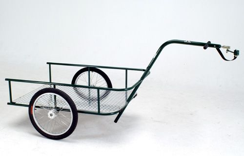A customizable trailer that can be pulled by virtually any bike.