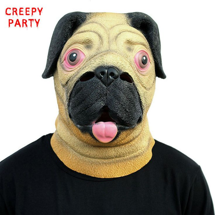 Pug Dog Head Party Masks Animal Latex Full Face Mask Breathable Halloween Masquerade Fancy Dress Party Cosplay Costume