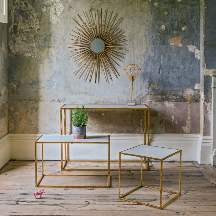 Odell Gold And Marble Square Table