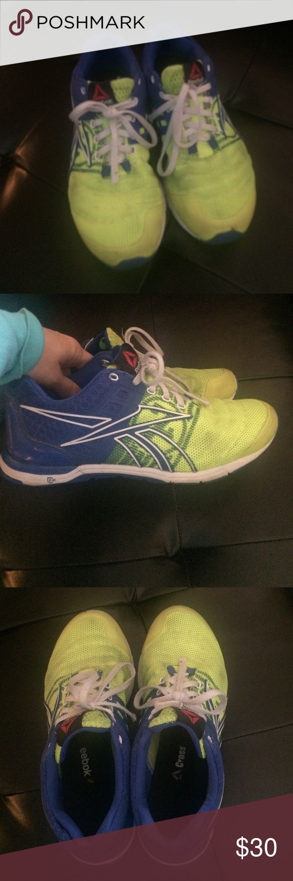 Reebok Crossfit Sprints-make an offer! I think these may be the sprints, not 100%?? Worn and used but still in decent condition. Could probably be thrown in the wash and would be fine. Neon yellow and blue. Laces were cut bc they were too long and they look worn. Too big for me!! Women's size 6. Make an offer Reebok Shoes