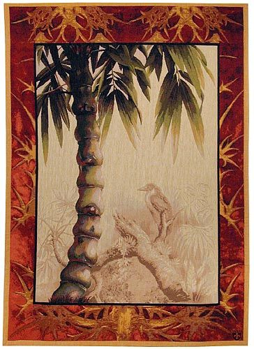 """The Tropical Palm tapestry in rich and muted tones is finely woven in France in a fine wool/cotton weave. 39""""x29"""" or 59""""x43"""". It matches the Tropical Ficus tapestry."""