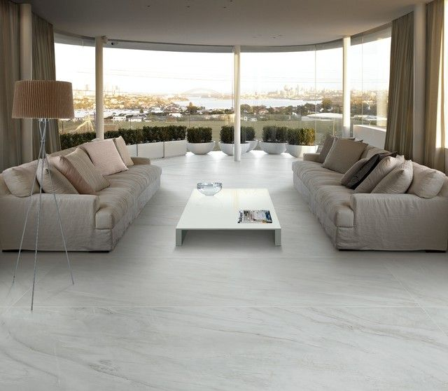 Modern Living Room With An Elegant White Marble Floor Interior