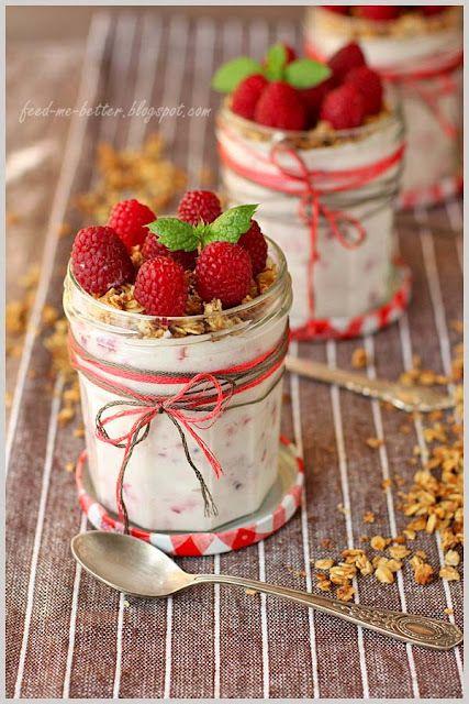 ....raspberry granola yogurt in a jar....