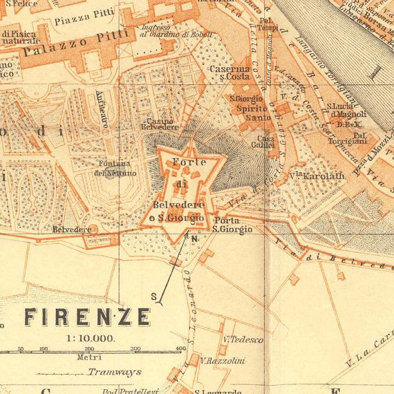 1913 Florence Vintage City Map  Baedeker