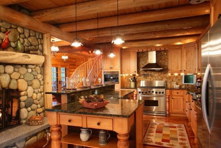 Beautiful Log Cabin Kitchen My Favorite Log Cabins Pinterest