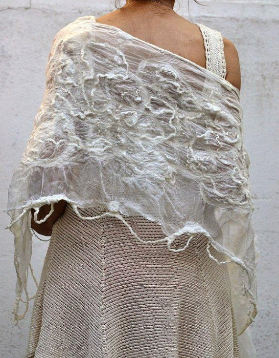 Lace  Felted bridal shawl/wedding wrap /silk and by FeltNatural, $90.00