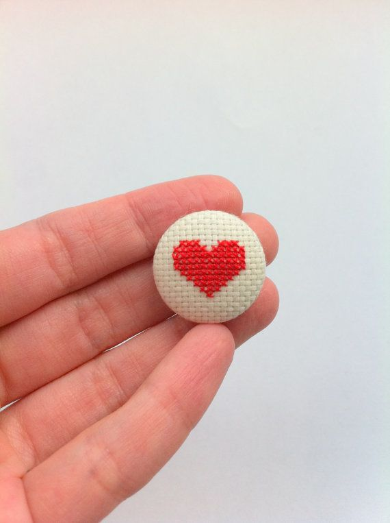 Hey, I found this really awesome Etsy listing at https://www.etsy.com/listing/126391835/red-heart-pinback-button-hand-embroidery