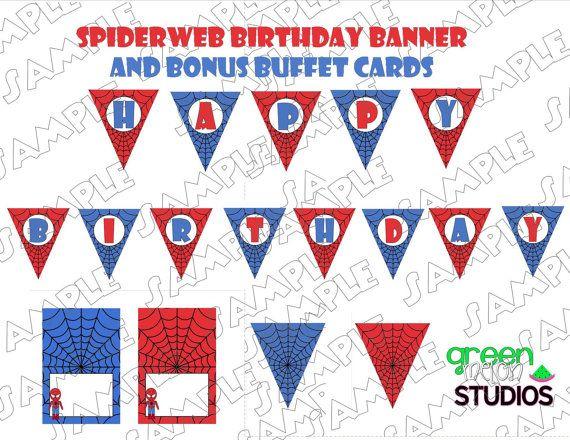 Spiderman Banner spiderweb Happy Birthday by greenmelonstudios, $4.75