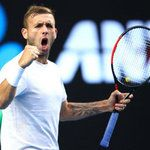 Dan Evans has been buying his own plain white t-shirts costing $13 after he was dropped by Nike in December. Earlier this month he made his first ATP final and today made it into the last 16 of the Australian Open
