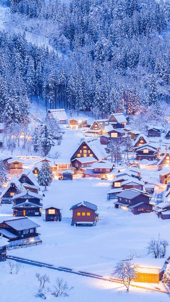 Beautiful Winter Village Wallpaper En 2019 Paysage Hiver