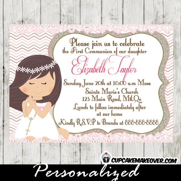 27 best first holy communion invitations diy printable images on a precious first communion invitation to share the joy of your daughters first holy communion with solutioingenieria Choice Image