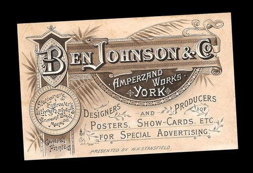 Original Victorian Artwork Lithograph Advertising Printer Shop Poster Trade Card