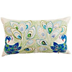 """Love this pillow, but who wrote this description?  """"Two peacocks meet and challenge each other to a dazzle-off. It's a scene filled with sequins, beads, embroidery and even shimmering mirror insets. The winner? You. That is, if you like gorgeously embellished pillows. And stories.""""  $27.96"""