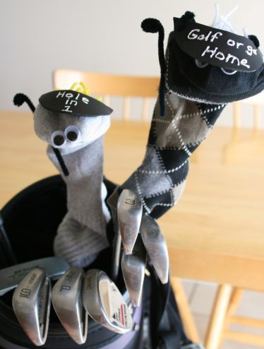Father's Day Craft: Golf Cover Sock Puppets