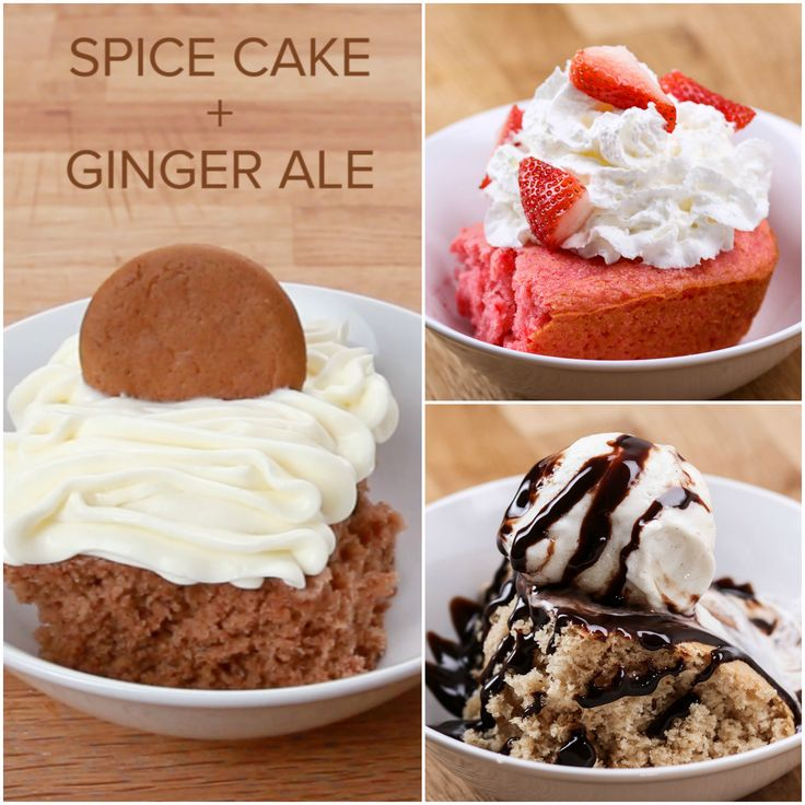 2-Ingredient Soda Pop Cakes Recipe: Mix one box of cake mix with one 12 oz can of soda. Pour into a greased glass baking dish, and bake at 350°F/177°C for 30-40 minutes (depends on the cake mix/soda combination). Make sure not to touch it until it's cool.