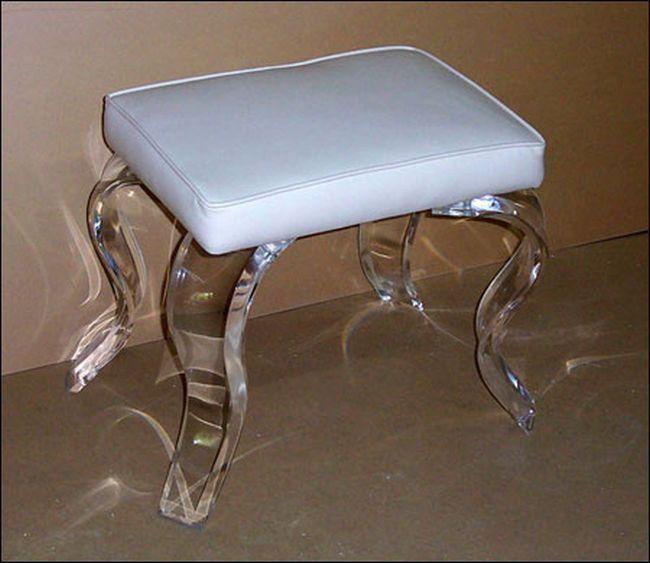 New Elegant Classy Lucite Rectangular Vanity Stool Lots