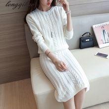 Suéter traje de falda de dos piezas de vestido de otoño falda cadera del paquete de cuello redondo de manga larga de punto de dos piezas falda de cobertura(China (Mainland))