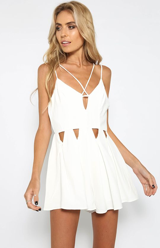 Crash The Party Playsuit - White