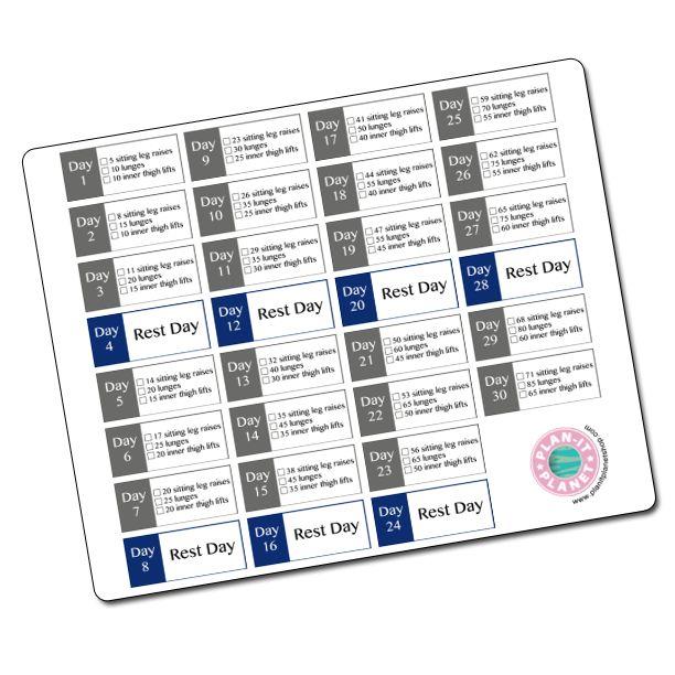 30 Day Thigh Challenge Stickers