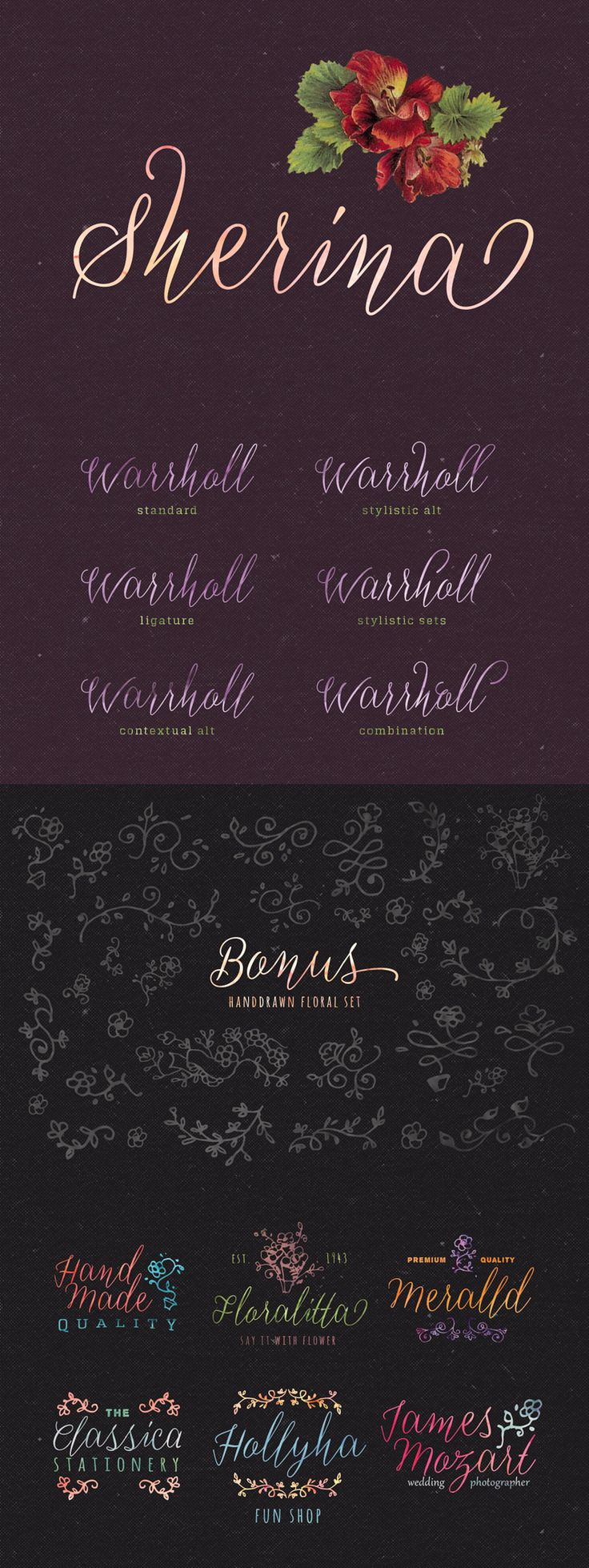 cursive fonts for wedding cards%0A Sherina is hand written script that is fun and casual  It is suitable for wedding  invitation  any greeting cards  retro   vintage design style
