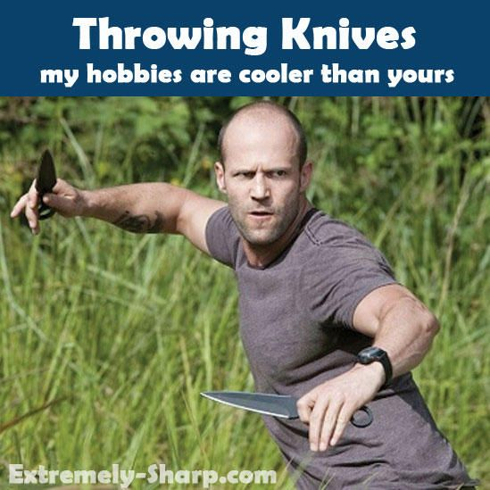 Throwing knives - my hobbies are cooler than yours! Visit www.extremely-sharp.com/throwing-knives/ for throwing knives, throwing spikes, shurkens and other fun stuff.