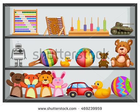 Shelves fullo f toys illustration