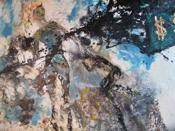 CRUDE OIL   original encaustic painting environmental by ArtShines