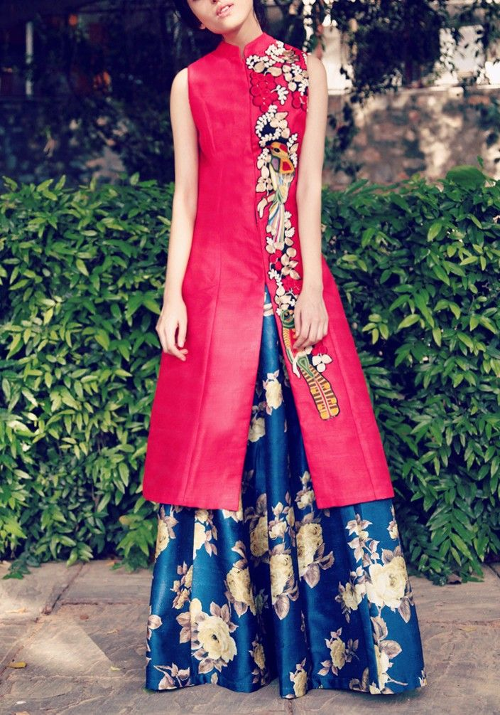 Blood Red Long Jacket with Bird Embroidery on one side & Navy Blue Floral…