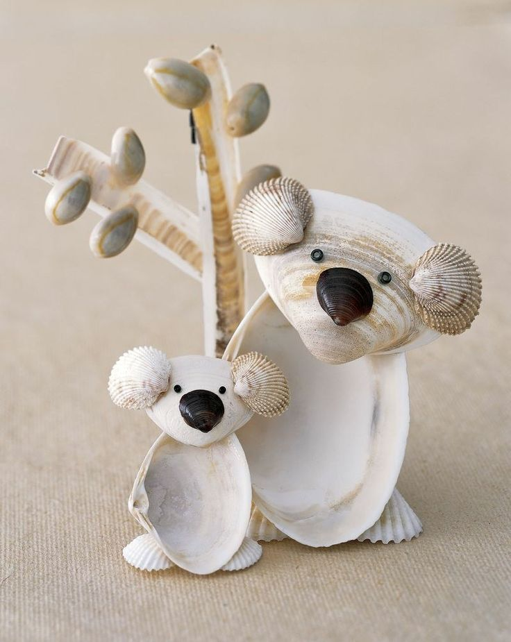 Figuren basteln mit Muscheln - Koalas