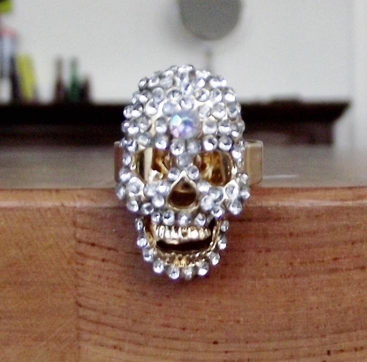Crystal Skull Ring. $25.00, via Etsy.