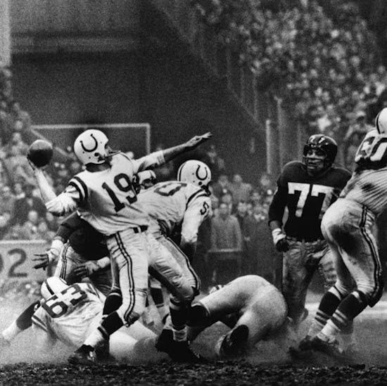 The Iconic Photo from the Colts-Giants 1958 'Greatest Game' Championship where the whole country discovered the greatness of Johnny Unitas