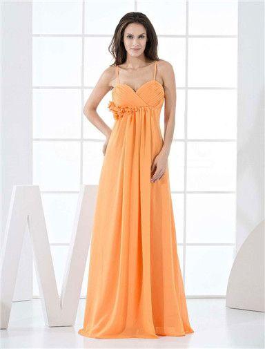Bruidsmeisjes-oranje chiffon a-lijn vloer lengte bruidsmeisje jurk