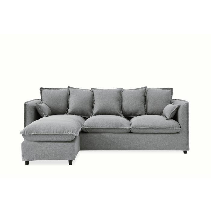 FINLANDEK Canapé d'angle modulable ARMANCE 4 places – Tissu gris – Classique – L 220 x P 123 cm