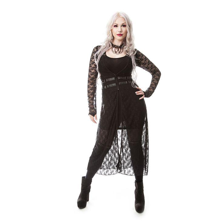 Beloved kanten dames cardigan met lange mouwen zwart - Gothic metal emo