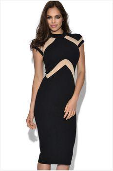2015 Black High Neck Bodycon Bandage Patchwork Vestidos Celebrity Back Zipper Dress For Women Evening Night Party Dresses