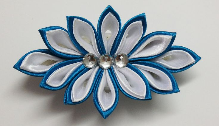 How to make kanzashi flower hairclip,kanzashi tutorial,diy flores de cinta