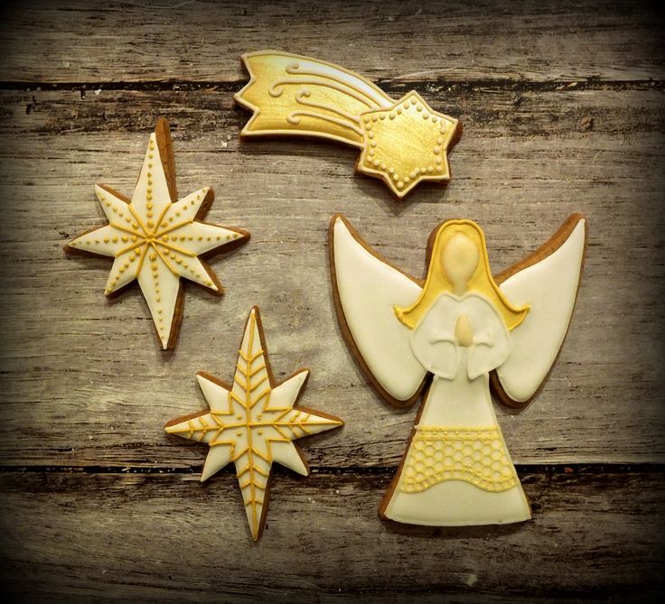 Christmas angel and star cookies