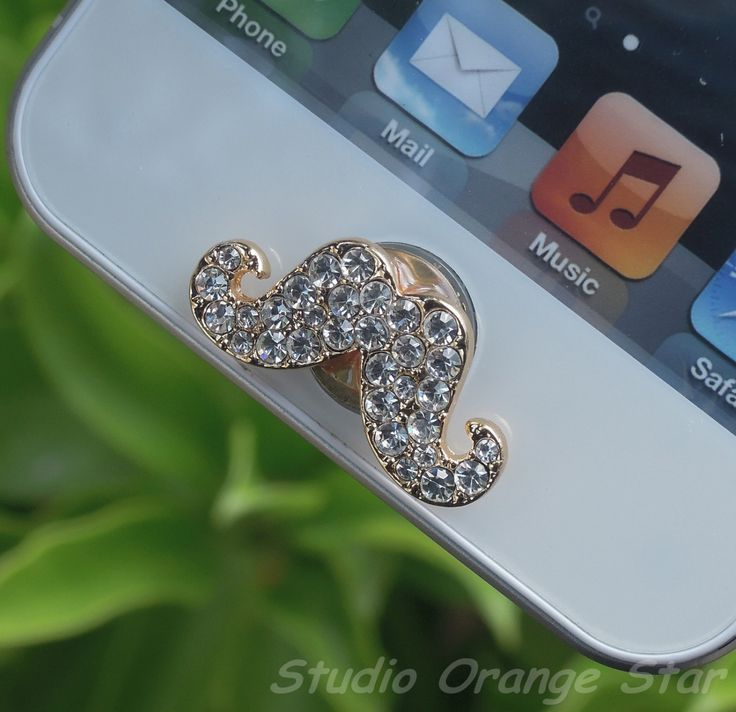 1PC Bling Clear Crystal Cute Mustache Apple iPhone Home Button Sticker for iPhone 4,4s,4g, iPhone 5, iPad, Cell Phone Charm. $4.99, via Etsy.
