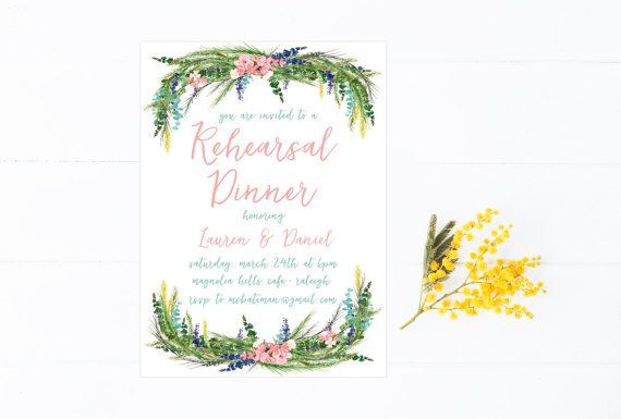 Rehearsal Dinner Invitation Boho Wedding by MooseberryPaperCo