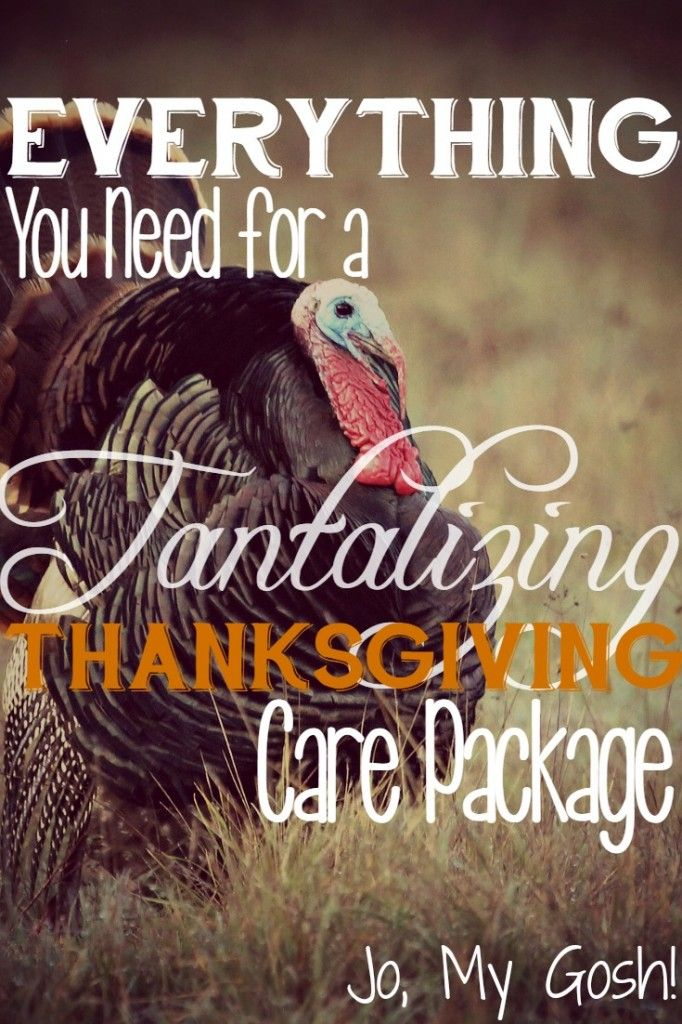 A list of gifts, ideas, and recipes to create the perfect Thanksgiving care package for college students, missionaries, or military personnel.