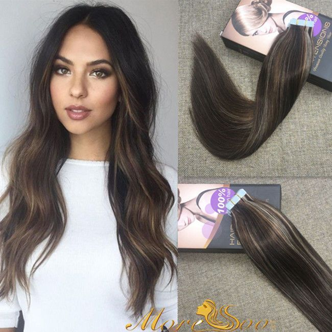 PU Tape In Remy Straight 100 Human Hair Extensions Highlight Piece