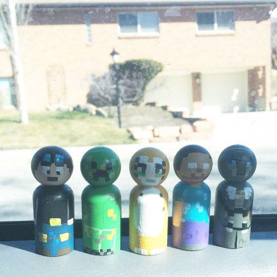 Minecraft peg dolls by LeggyBlondeShop on Etsy