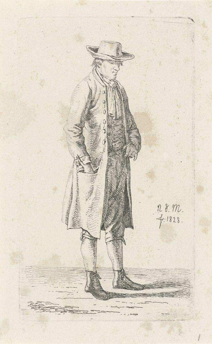 Anthonie Willem Hendrik Nolthenius de Man | Man met hand in zijn jaszak, Anthonie Willem Hendrik Nolthenius de Man, 1828 | Staande man met zijn hand in zijn jaszak gestoken. Prent uit een serie van twaalf prenten met studies van menselijke figuren.