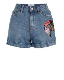 Blue Denim Sequin Badge Mom Shorts  | New Look
