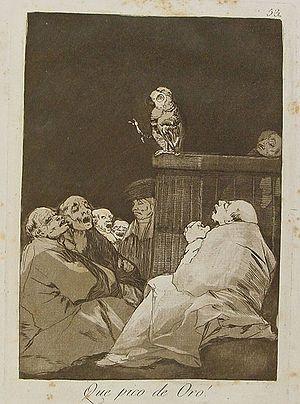 """Los caprichos de Goya. nº 53 """"¡Que pico de oro!"""" 1799"""