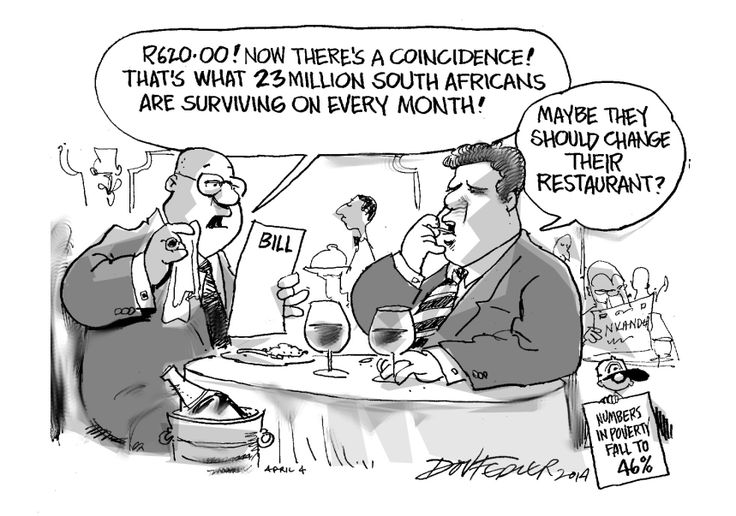 The latest Business Report cartoon highlights South Africa's high level of poverty.