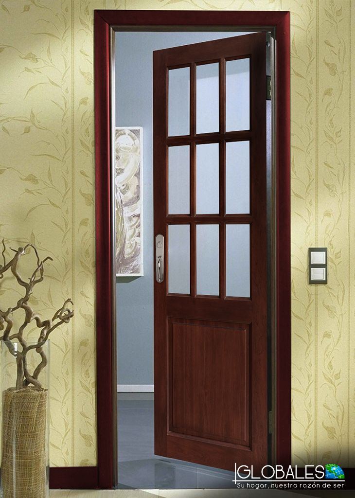 Puerta de madera s lida de 9 luces para colocar en la - Puertas de madera ...