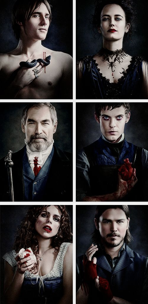 Dorian Gray, Vanessa Ives, Sir Malcolm Murray, Victor Frankenstein, Brona Croft, Ethan Chandler -- Penny Dreadful